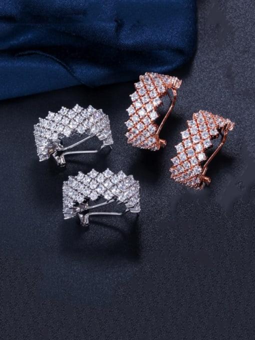 L.WIN Brass Cubic Zirconia Geometric Statement Stud Earring 4