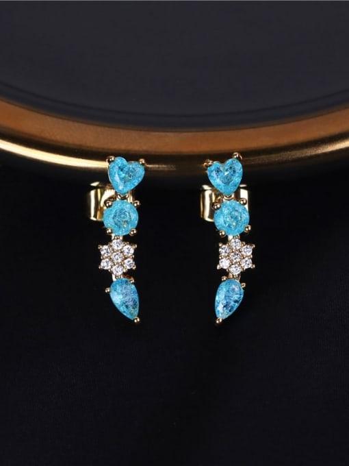 DUDU Brass Cubic Zirconia Geometric Luxury Stud Earring 1