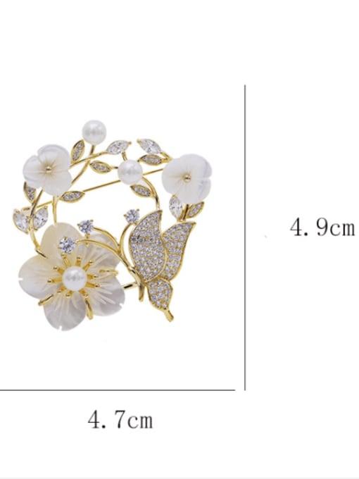 Luxu Brass Cubic Zirconia Flower Statement Brooch 2