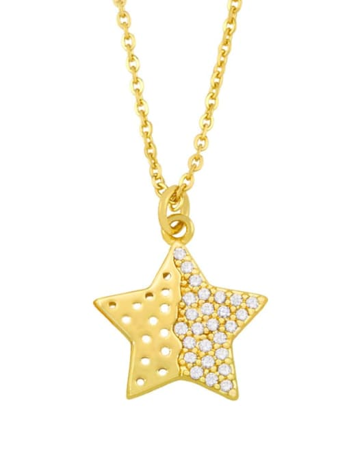 D Brass Cubic Zirconia Star Vintage Necklace