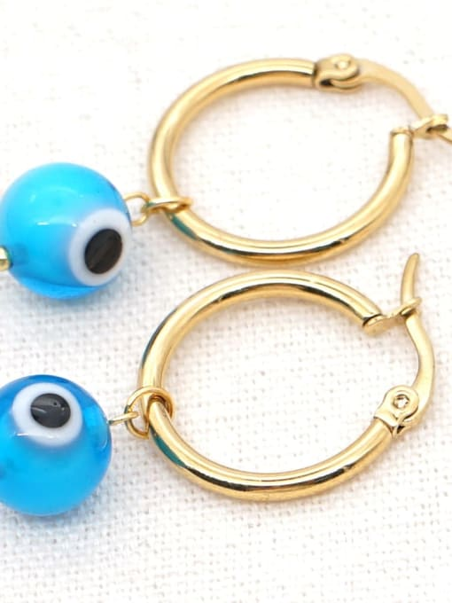 C E200004D Stainless steel  MGB Bead Multi Color Evil Eye Bohemia Huggie Earring