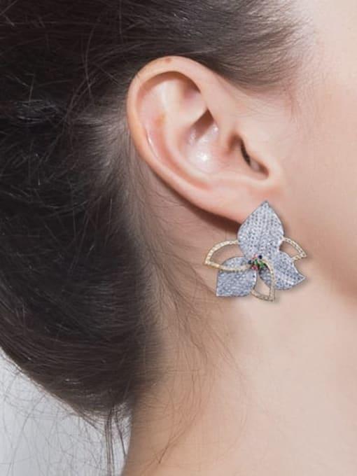 L.WIN Brass Cubic Zirconia Flower Luxury Stud Earring 1