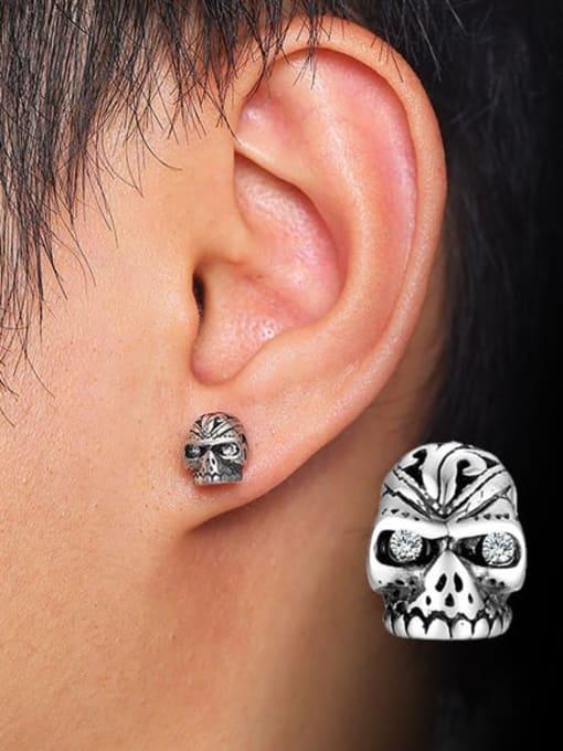 CONG Titanium Steel Rhinestone Skull Vintage Stud Earring 1