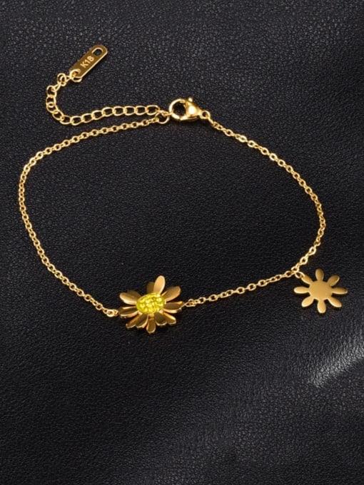 A TEEM Titanium Steel Flower Minimalist Link Bracelet 0
