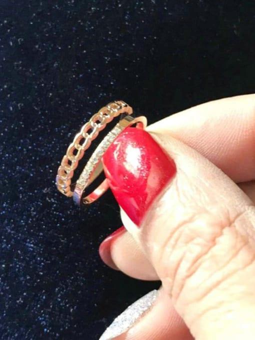 MIYA Titanium Steel Rhinestone Irregular Minimalist Stackable Ring 2