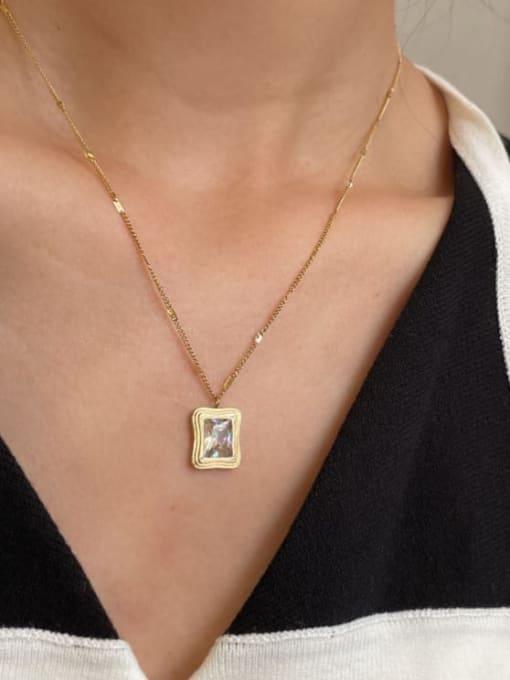 A TEEM Titanium Steel Square Vintage Pendant Necklace 0