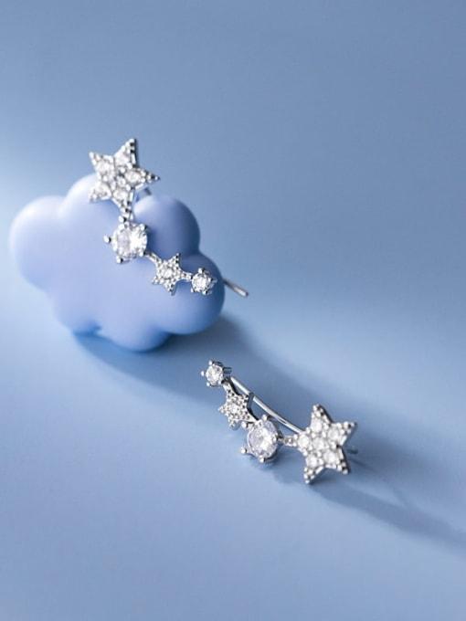 Rosh 925 Sterling Silver Cubic Zirconia Star Cute Stud Earring 2