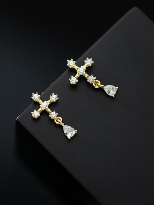 Rosh 925 Sterling Silver Cubic Zirconia Cross Minimalist Stud Earring 0