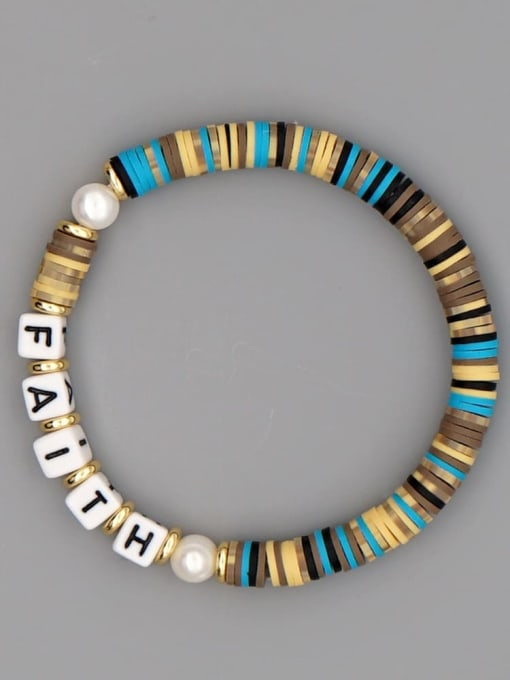 QT B200145H Stainless steel Multi Color Polymer Clay Letter Bohemia Stretch Bracelet