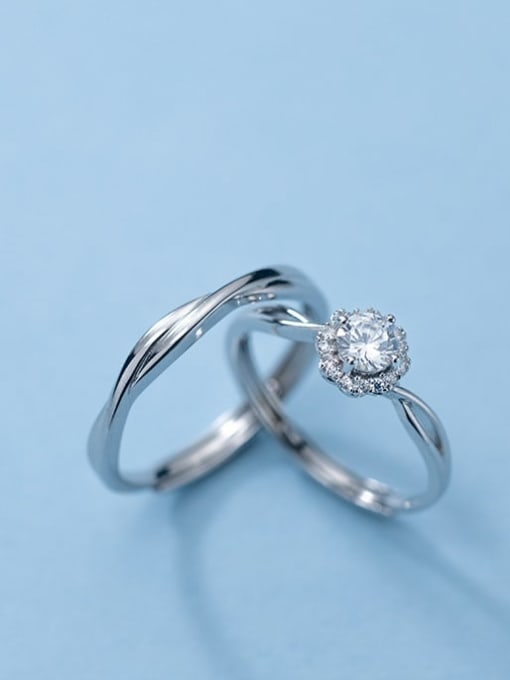Rosh 925 Sterling Silver Rhinestone Geometric Minimalist Band Ring