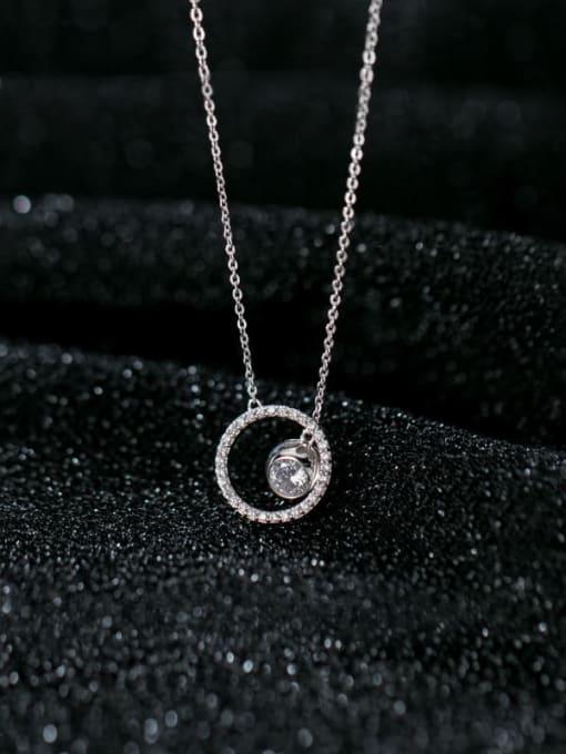 Rosh 925 Sterling Silver Rhinestone White Round Minimalist Lariat Necklace 2