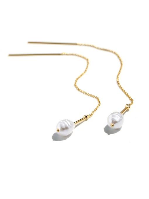 CHARME Brass Imitation Pearl Tassel Minimalist Threader Earring