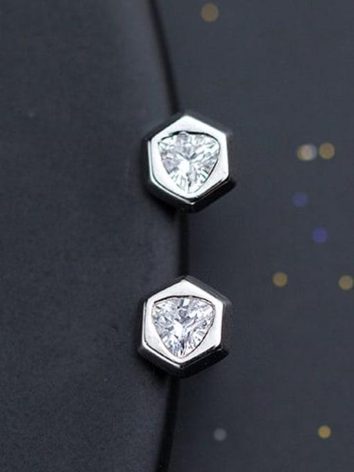 Rosh 925 Sterling Silver Cubic Zirconia  Hexagon Minimalist Stud Earring 0
