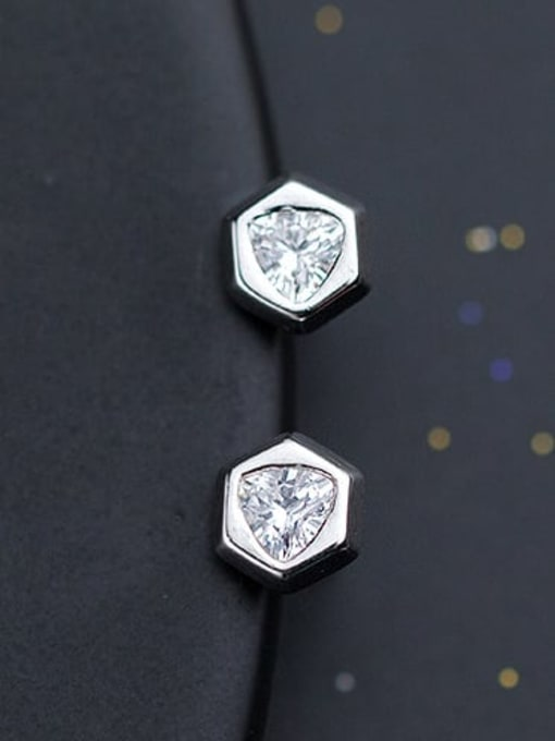 Rosh 925 Sterling Silver Cubic Zirconia  Hexagon Minimalist Stud Earring