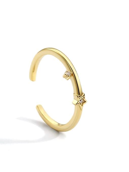 Gold star ring Brass Cubic Zirconia Irregular Minimalist Band Ring
