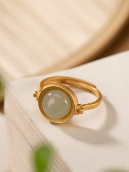 White jade gold 925 Sterling Silver Jade Geometric Vintage Band Ring