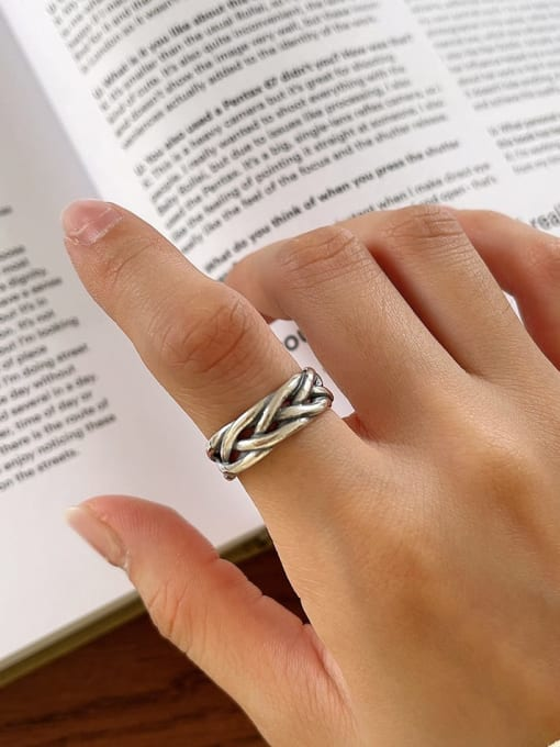 Woven ring j124 3.7g 925 Sterling Silver Geometric Vintage Band Ring