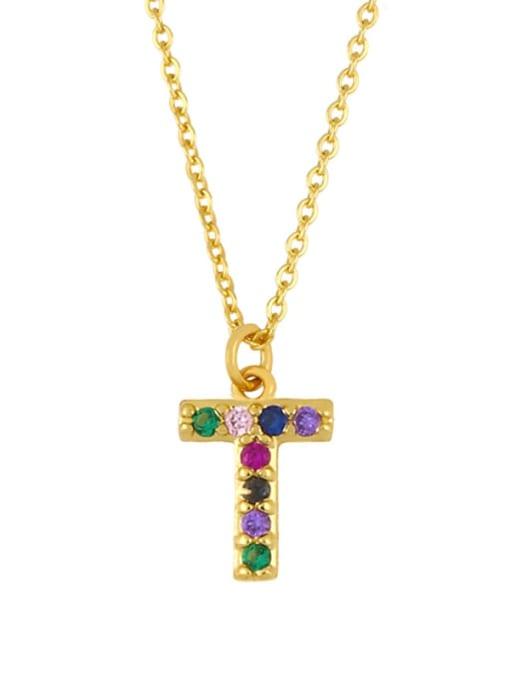 T Brass Cubic Zirconia Letter Vintage Necklace
