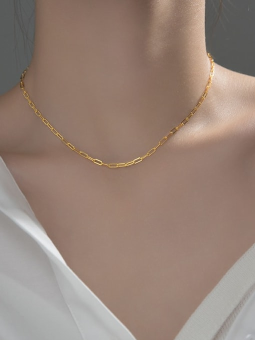Rosh 925 Sterling Silver  Minimalist  single chain necklace short without pendant 3