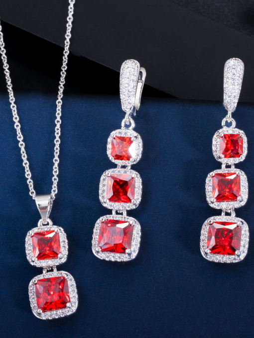 gules Brass Cubic Zirconia Luxury Geometric  Earring and Necklace Set