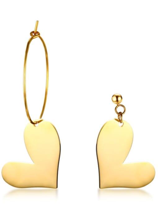 CONG Stainless steel Heart Minimalist Hook Earring 1