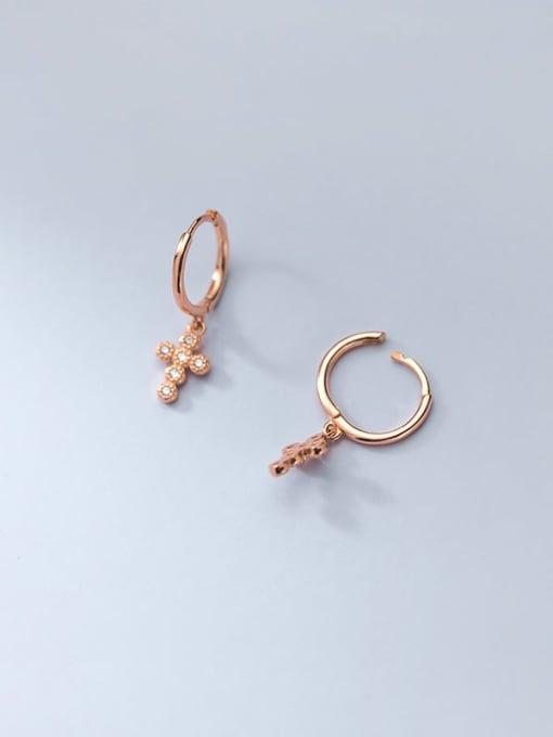 rose gold 925 Sterling Silver Cubic Zirconia Cross Minimalist Huggie Earring