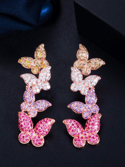 L.WIN Brass Cubic Zirconia Butterfly Luxury Drop Earring