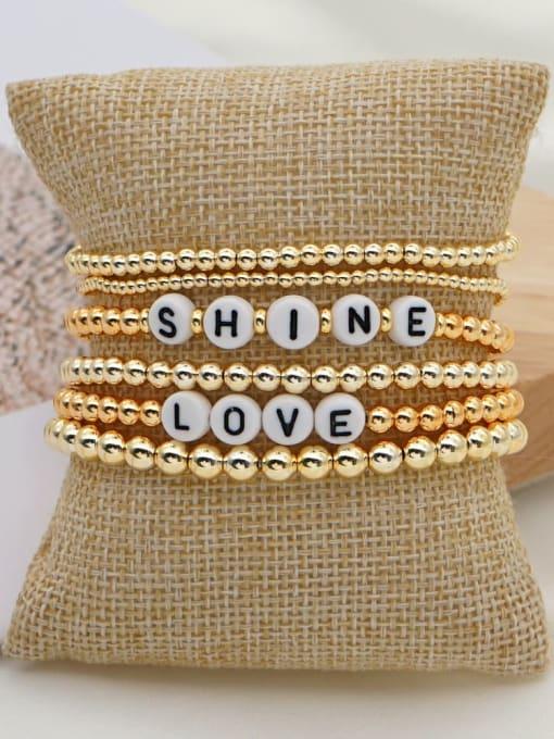 QT S200055 Stainless steel MGB Bead Letter Bohemia Beaded Bracelet