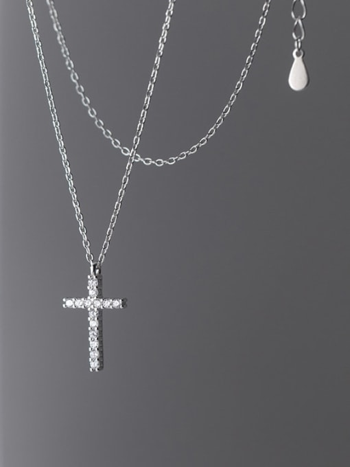 Rosh 925 Sterling Silver Rhinestone Cross Minimalist Necklace 4