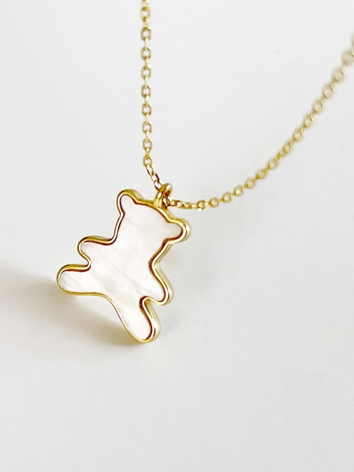 Boomer Cat 925 Sterling Silver Shell Bear Minimalist Necklace