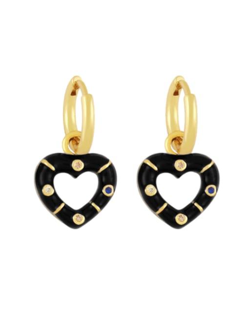 black Brass Enamel Heart Vintage Huggie Earring