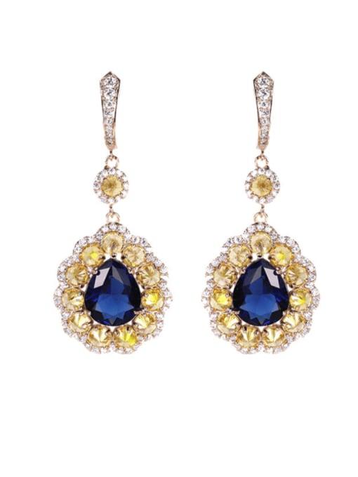 Yellow royal blue Brass Cubic Zirconia Flower Trend Drop Earring