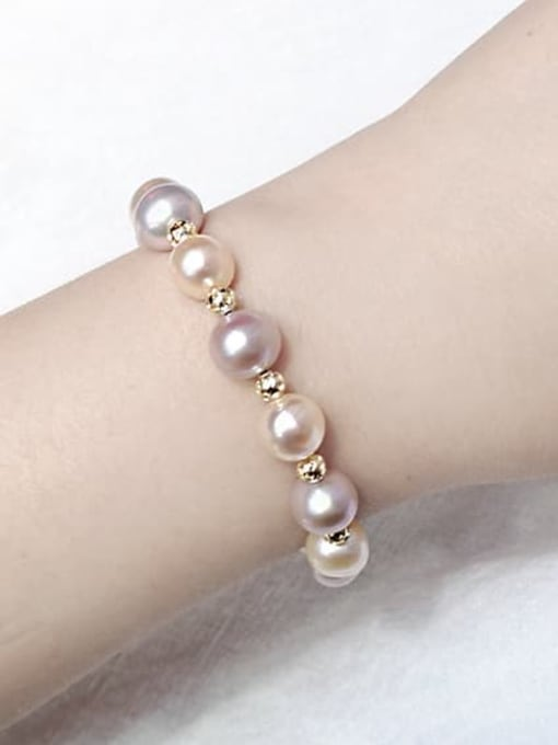 RAIN Brass Freshwater Pearl Round Minimalist Beaded Bracelet 1