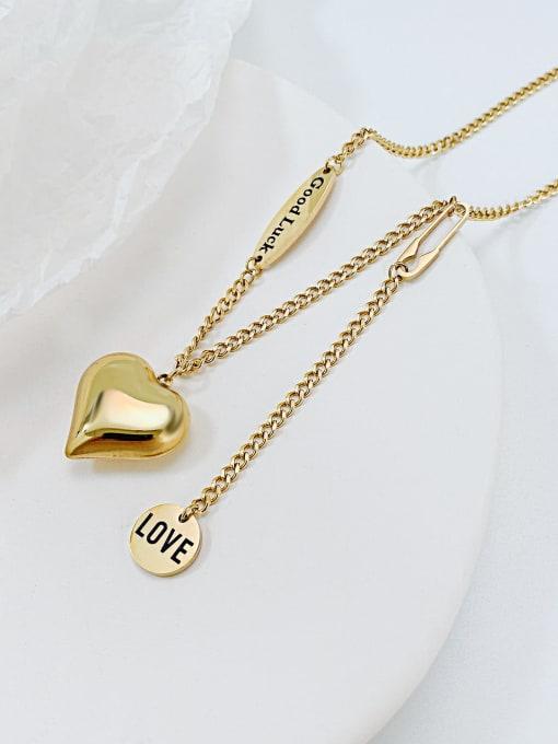 Open Sky Titanium Steel Heart Minimalist Lariat Necklace 1