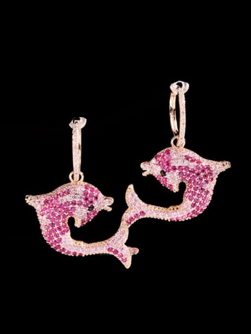Luxu Brass Cubic Zirconia Dolphin Trend Huggie Earring