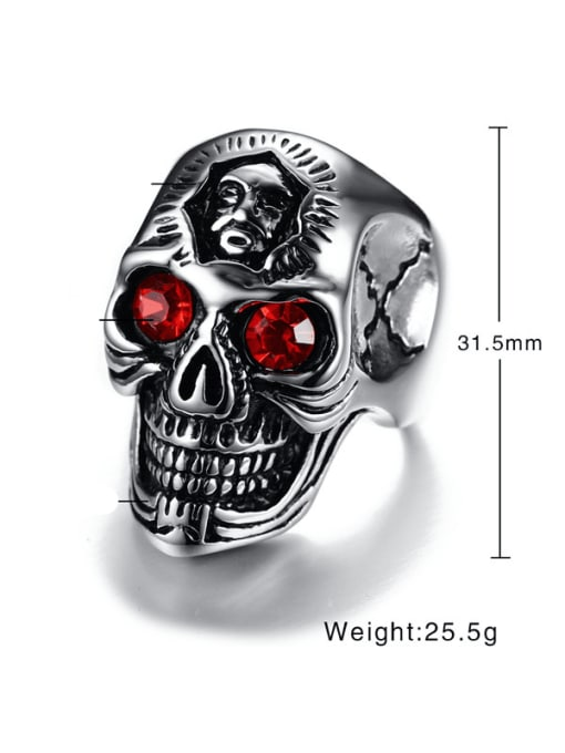 CONG Stainless steel Rhinestone Skull Vintage Band Ring 2