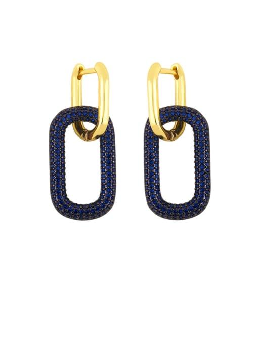 blue Brass Rhinestone Geometric Vintage Drop Earring