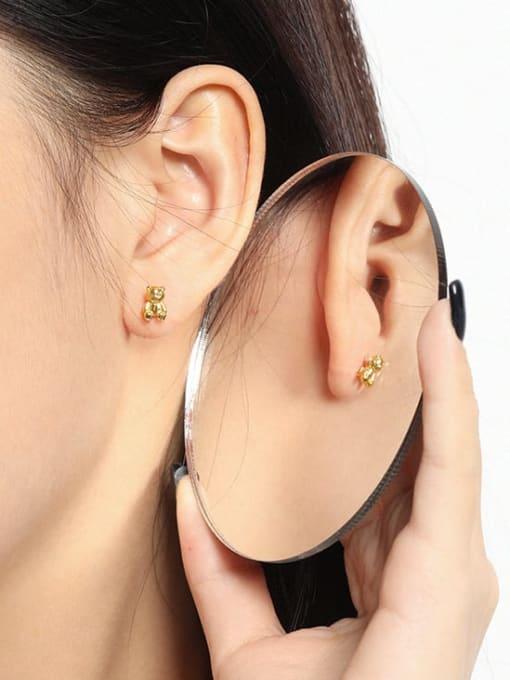 DAKA 925 Sterling Silver Smooth Bear Cute Stud Earring 3