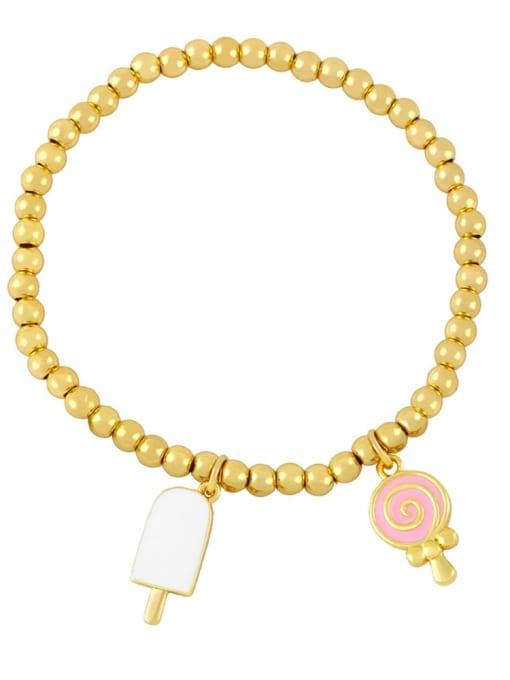 CC Brass Enamel Heart Vintage Beaded Bracelet 3