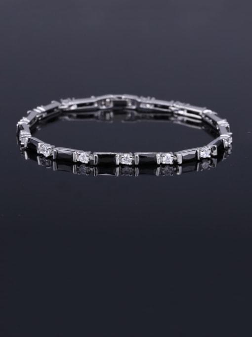 Black 17.5+ 2.2cm Brass Cubic Zirconia Geometric Classic Bracelet