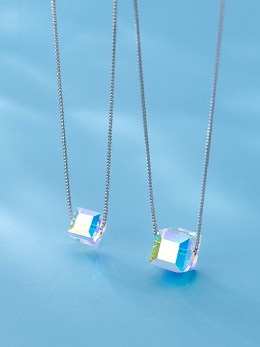 Rosh 925 Sterling Silver Crystal Square Minimalist Necklace 2