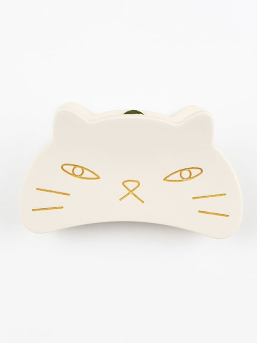 white Cellulose Acetate Cute Cat Zinc Alloy Jaw Hair Claw