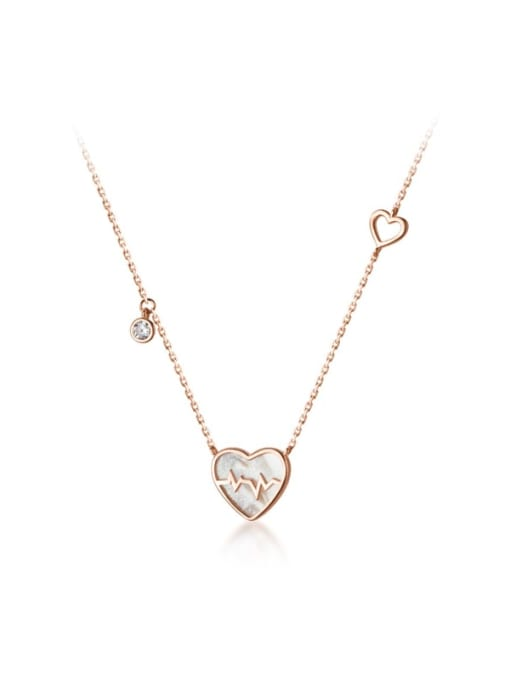 Rosh 925 Sterling Silver Acrylic Heart Minimalist Necklace 3