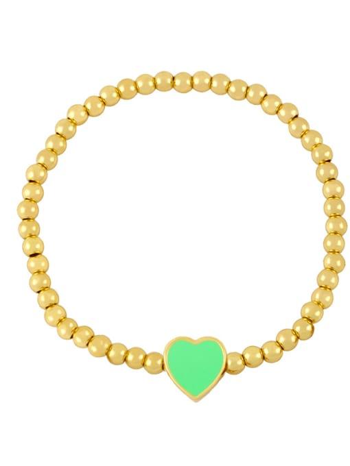 C (light green) Brass Enamel Heart Minimalist Beaded Bracelet