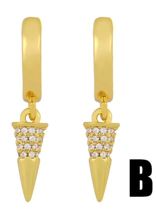 B gold Brass Cubic Zirconia Cone Dainty Huggie Earring