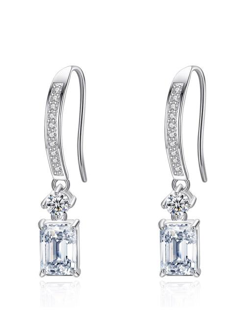 CCUI 925 Sterling Silver Cubic Zirconia Geometric Minimalist Hook Earring