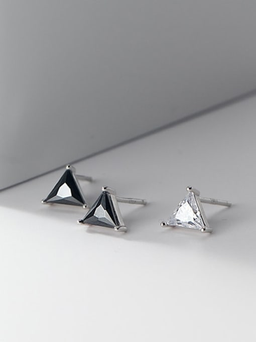 Rosh 925 Sterling Silver Cubic Zirconia Triangle Minimalist Stud Earring 3