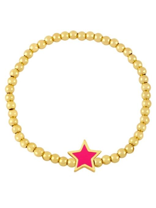 Rose red Brass Enamel Star Vintage Beaded Bracelet