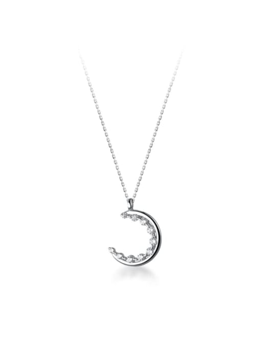 Rosh 925 Sterling Silver Cubic Zirconia Moon Minimalist Necklace 4