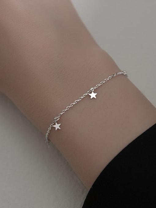 Rosh 925 Sterling Silver Star Minimalist Link Bracelet 1